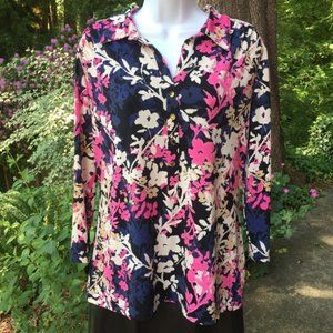 Alfani Floral Blouse 3/4 Sleeve Silver Buttons XL